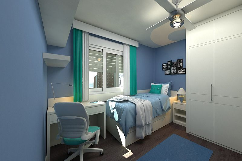Modern kid's room with blue walls, white furniture, brown floors and white and teal curtains on a large white-framed window.
